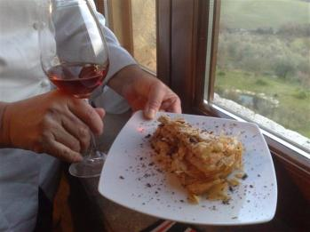 Pasta with a glass of red wine